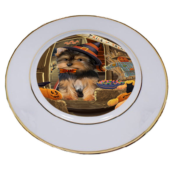 Enter at Own Risk Trick or Treat Halloween Yorkshire Terrier Dog Porcelain Plate PLT53361