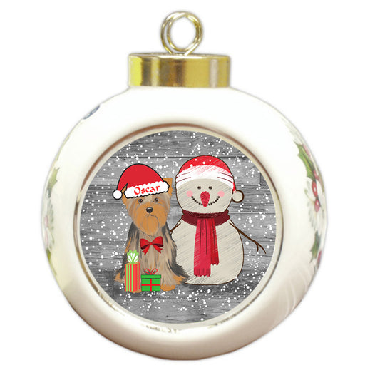 Custom Personalized Snowy Snowman and Yorkshire Terrier Dog Christmas Round Ball Ornament