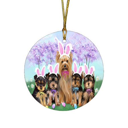 Yorkshire Terriers Dog Easter Holiday Round Flat Christmas Ornament RFPOR49172