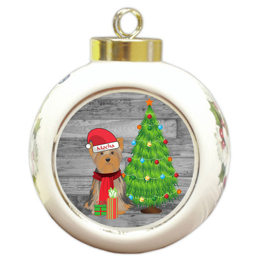 Custom Personalized Yorkshire Terrier Dog With Tree and Presents Christmas Round Ball Ornament