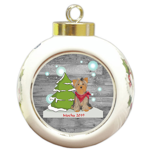 Custom Personalized Winter Scenic Tree and Presents Yorkshire Terrier Dog Christmas Round Ball Ornament