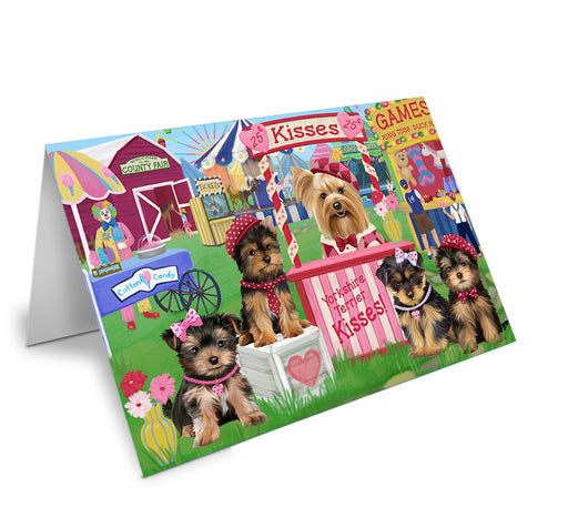 Carnival Kissing Booth Yorkshire Terriers Dog Note Card NCD72674
