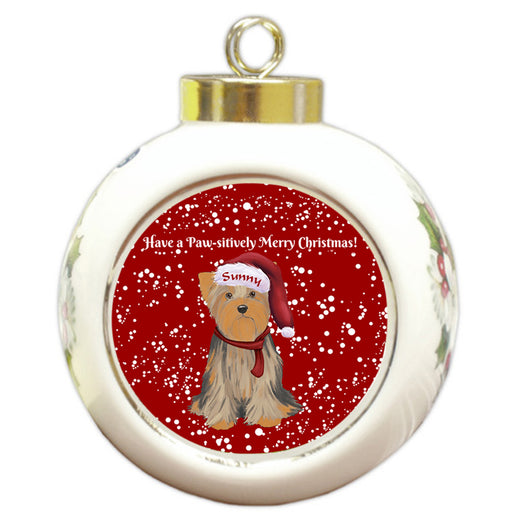 Custom Personalized Pawsitively Yorkshire Terrier Dog Merry Christmas Round Ball Ornament