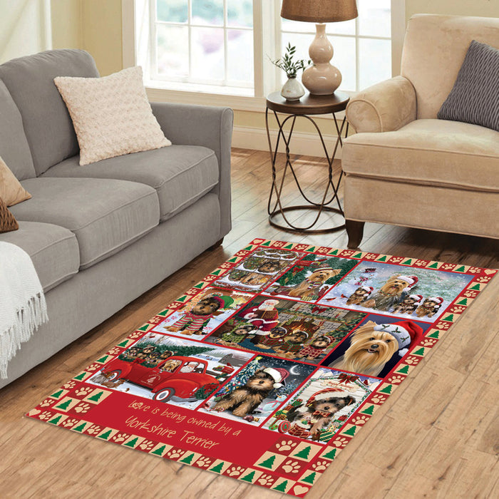 Love is Being Owned Christmas Yorkshire Terrier Dogs Area Rug