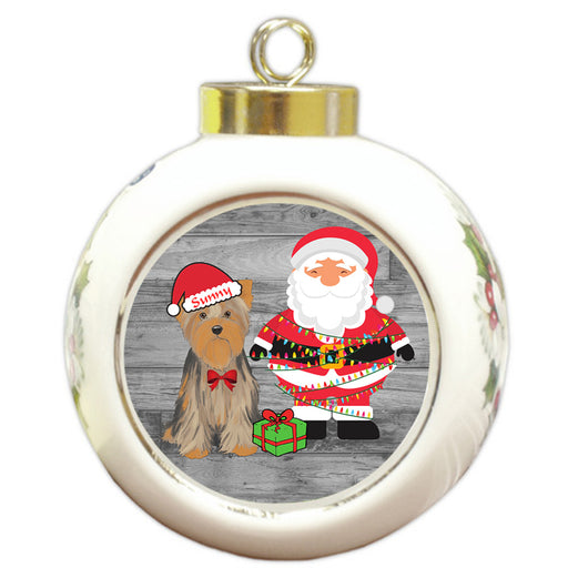 Custom Personalized Yorkshire Terrier Dog With Santa Wrapped in Light Christmas Round Ball Ornament