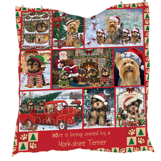 Love is Being Owned Christmas Yorkshire Terrier Dogs Quilt