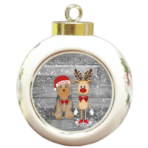 Custom Personalized Yorkshire Terrier Dog Reindeer and Pooch Christmas Round Ball Ornament