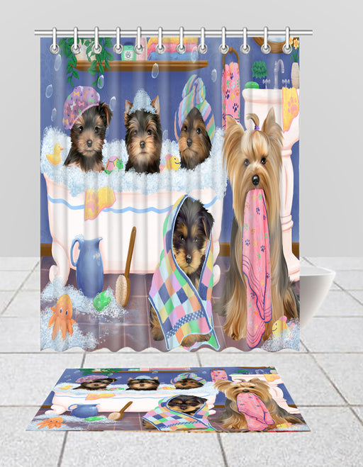 Rub A Dub Dogs In A Tub Yorkshire Terrier Dogs Bath Mat and Shower Curtain Combo