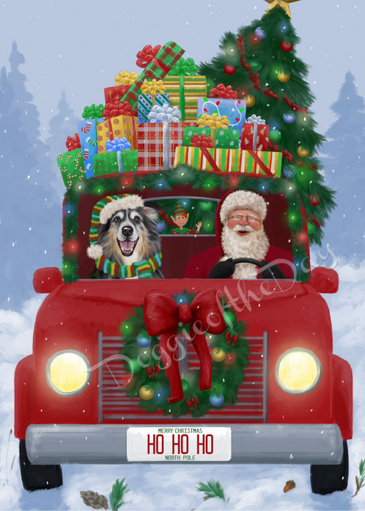 Custom Digital Painting Art Photo Personalized Dog Cat in Honk Honk Here Comes Santa Background