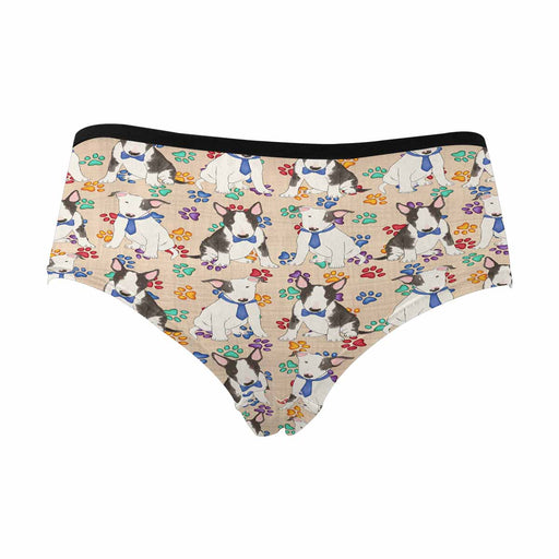 Bull Terrier Dogs Blue  Women's High Waist Briefs (Model L26)
