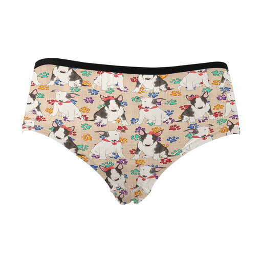 Bull Terrier Dogs Red  Women's High Waist Briefs (Model L26)