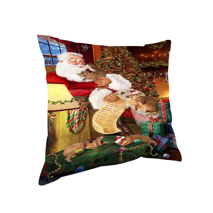Abyssinian Cats and Kittens Sleeping with Santa Throw Pillow