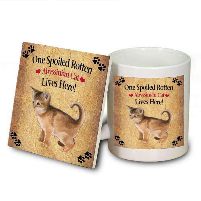 Abyssinian Kitten Spoiled Rotten Cat Mug and Coaster Set