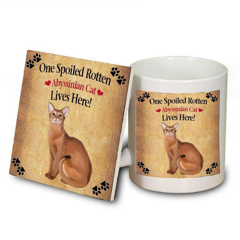 Abyssinian Spoiled Rotten Cat Mug and Coaster Set
