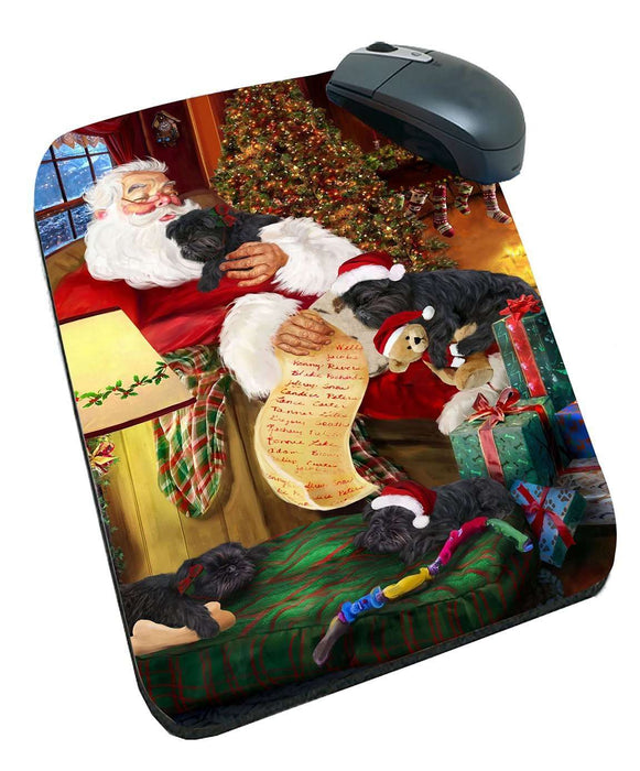 Affenpinscher Dog and Puppies Sleeping with Santa Mousepad