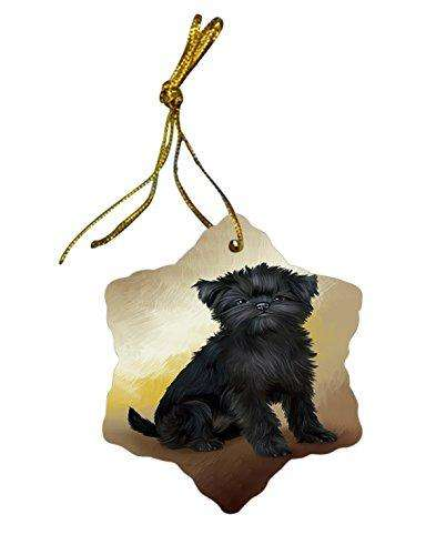 Affenpinscher Dog Christmas Snowflake Ceramic Ornament