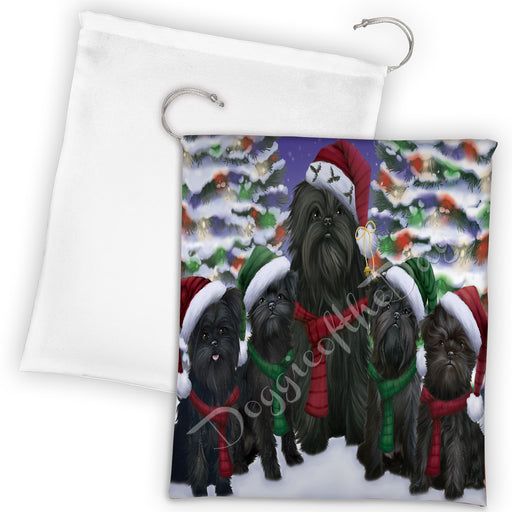 Affenpinscher Dogs Christmas Family Portrait in Holiday Scenic Background Drawstring Laundry or Gift Bag LGB48098