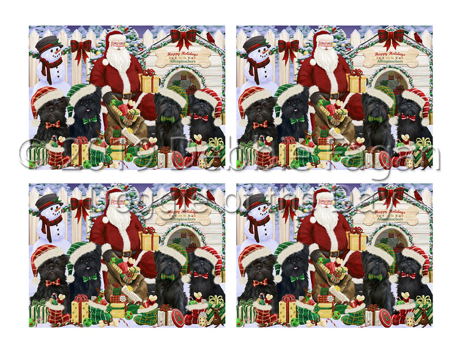 Happy Holidays Christmass Affenpinscher Dogs House Gathering Placemat