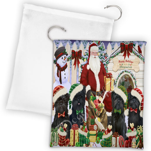Happy Holidays Christmas Affenpinscher Dogs House Gathering Drawstring Laundry or Gift Bag LGB48001