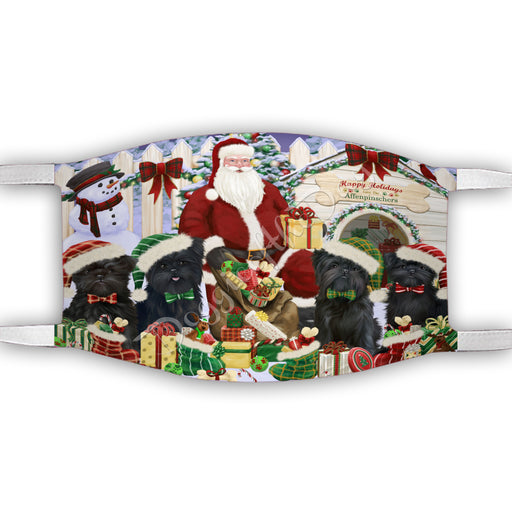 Happy Holidays Christmas Affenpinscher Dogs House Gathering Face Mask FM48203
