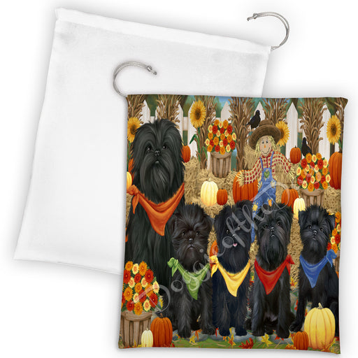 Fall Festive Harvest Time Gathering Affenpinscher Dogs Drawstring Laundry or Gift Bag LGB48359
