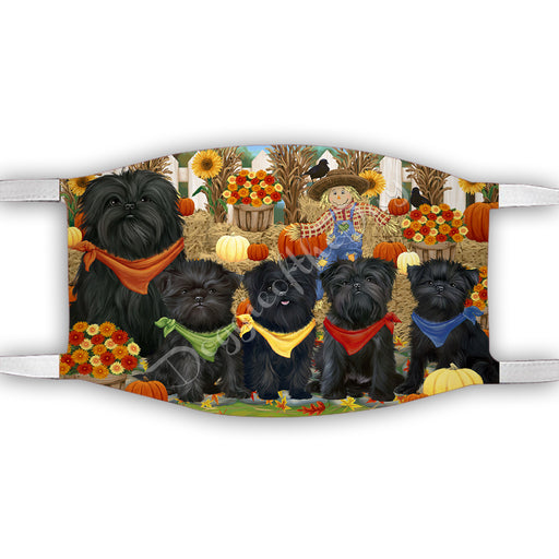 Fall Festive Harvest Time Gathering  Affenpinscher Dogs Face Mask FM48492