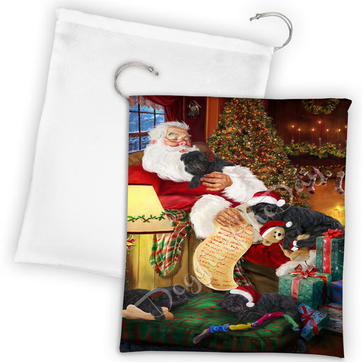 Santa Sleeping with Affenpinscher Dogs Drawstring Laundry or Gift Bag LGB48759