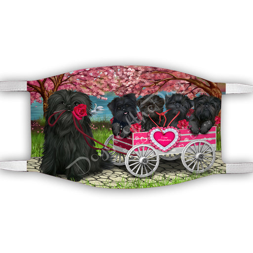 I Love Affenpinscher Dogs in a Cart Face Mask FM48102