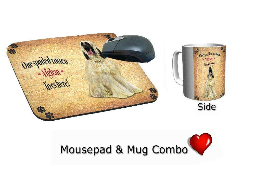 Afghan Dog Spoiled Rotten Mousepad & Mug Combo Set
