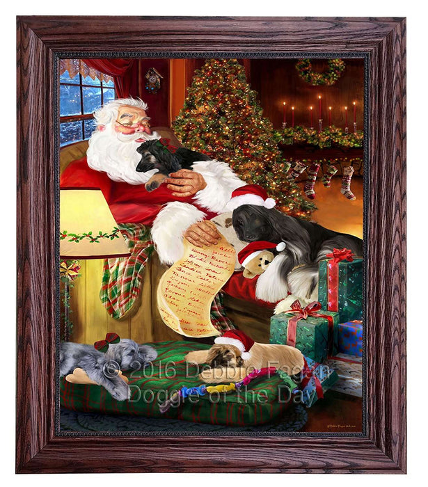 Afghan Hound Dog and Puppies Sleeping with Santa Framed Canvas Print Wall Art
