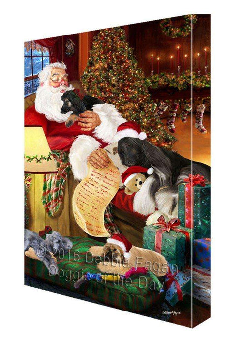 Afghan Hound Dog and Puppies Sleeping with Santa Painting Printed on Canvas Wall Art Signed