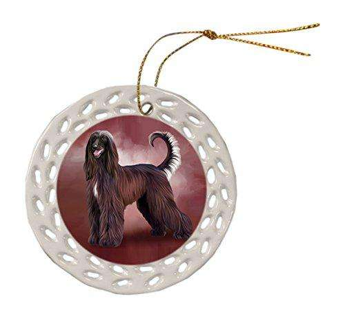 Afghan Hound Dog Christmas Doily Ceramic Ornament