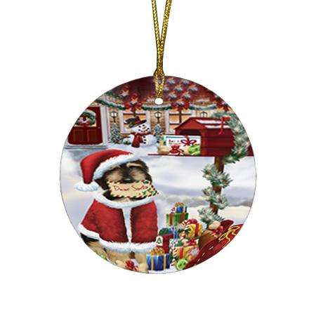 Afghan Hound Dog Dear Santa Letter Christmas Holiday Mailbox Round Flat Christmas Ornament RFPOR53501