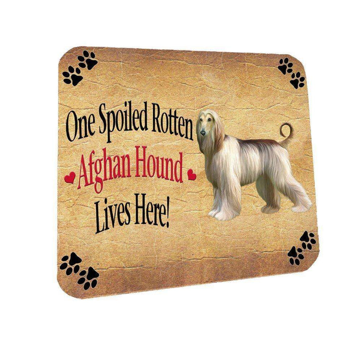 Afghan Hound Spoiled Rotten Dog Coasters Set of 4