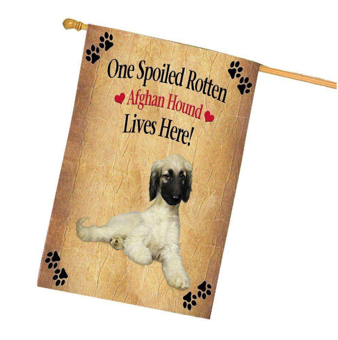 Afghan Hound Spoiled Rotten Dog House Flag