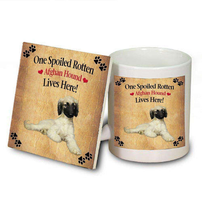 Afghan Hound Spoiled Rotten Dog Mug and Coaster Set