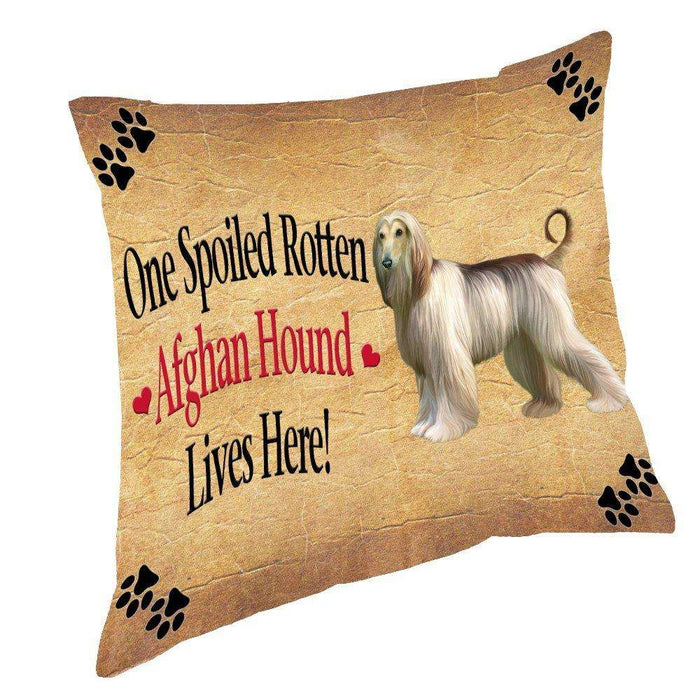 Afghan Hound Spoiled Rotten Dog Throw Pillow