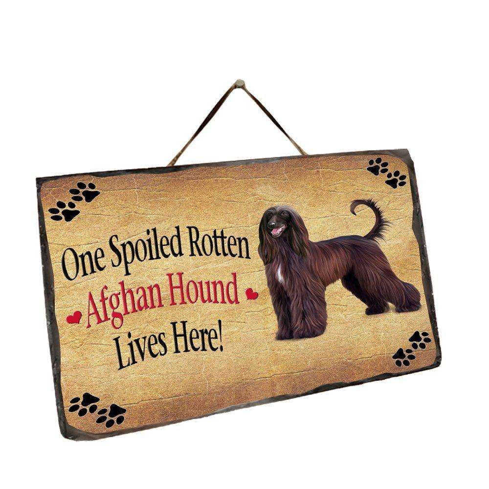 Afghan Hound Spoiled Rotten Dog Wall Décor Hanging Photo Slate