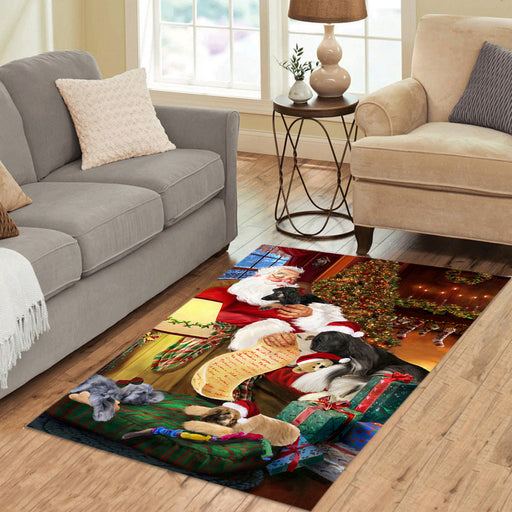 Santa Sleeping with Afghan Hound Dogs Area Rug