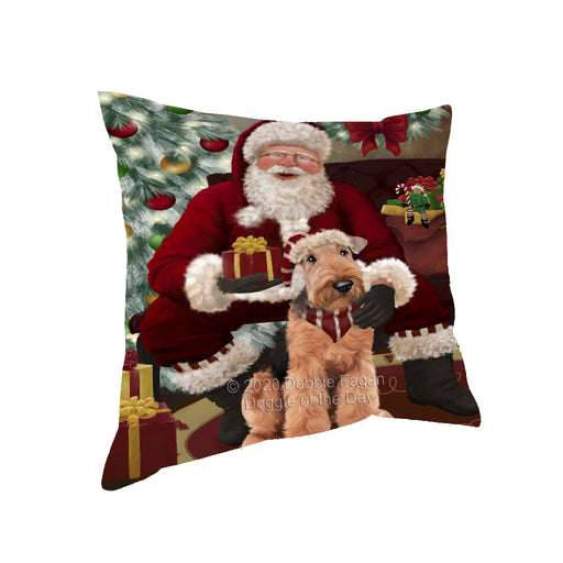 Santa's Christmas Surprise Airedale Dog Pillow PIL87052