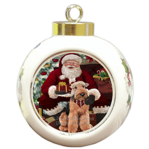 Santa's Christmas Surprise Airedale Dog Round Ball Christmas Ornament RBPOR57992