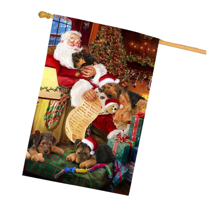 Airedale Dog and Puppies Sleeping with Santa House Flag