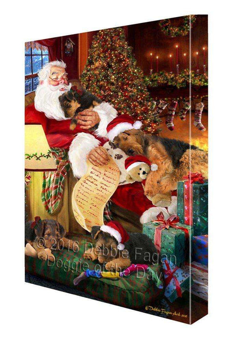 Airedale Dog and Puppies Sleeping with Santa Painting Printed on Canvas Wall Art