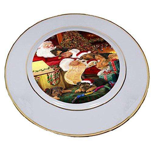 Airedale Dog and Puppies Sleeping with Santa Porcelain Plate