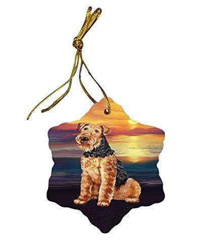 Airedale Terrier Dog Christmas Snowflake Ceramic Ornament