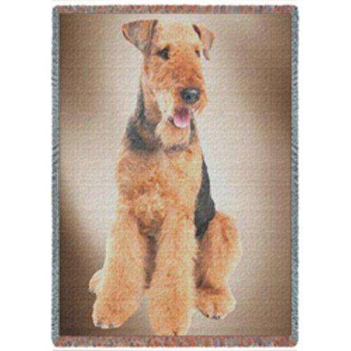 Airedale Terrier Dog Woven Throw Blanket 54 x 38