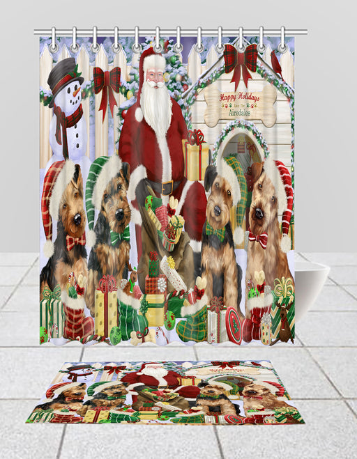 Happy Holidays Christmas Airedale Dogs House Gathering Bath Mat and Shower Curtain Combo