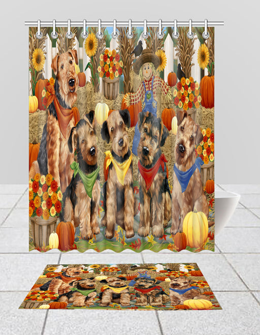 Fall Festive Harvest Time Gathering Airedale Dogs Bath Mat and Shower Curtain Combo