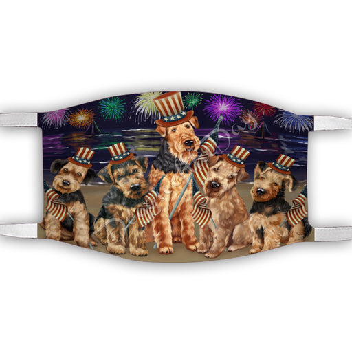 4th of July Independence Day Airedale Dogs Face Mask FM49362
