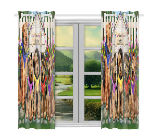 Spring Dog House Airedale Dogs Window Curtain